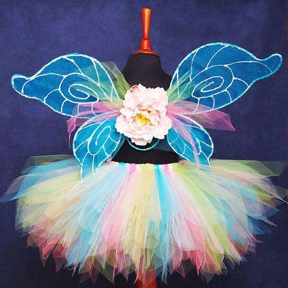"""Детские карнавальные костюмы ручной работы. Ярмарка Мастеров - ручная работа. Купить """"Бирюзовая бабочка"""" комплект юбка-пачка и крылья. Handmade."""