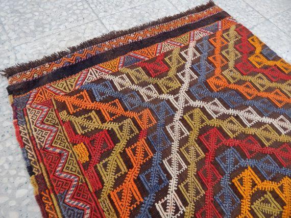 Multi Colored Flat Weave Vintage Handmade Turkish Kilim Rug