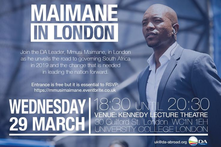 """Catch Mmusi Maimane in London for the unveiling of the DA's """"Road to Governing SA in 2019"""" plan The leader of SA's official opposition is heading to the UK to unveil the party's roadmap to taking over the Union Buildings come 2019.  If you'd li... https://www.thesouthafrican.com/catch-mmusi-maimane-in-london-for-the-unveiling-of-the-das-road-to-governing-sa-in-2019-plan/"""