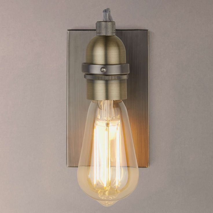 Buyjohn lewis bistro bulb wall light antique brass online at johnlewis com