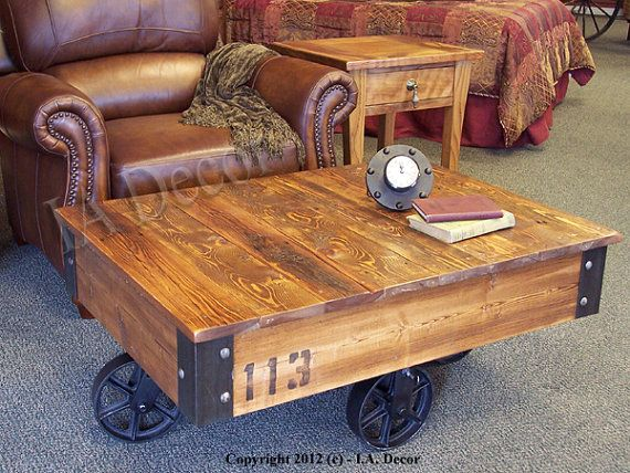 """Factory Cart Coffee Table 28"""" x 36""""  - Coffee table on wheels - Industrial Cart Table  Cool idea but want a bigger table"""