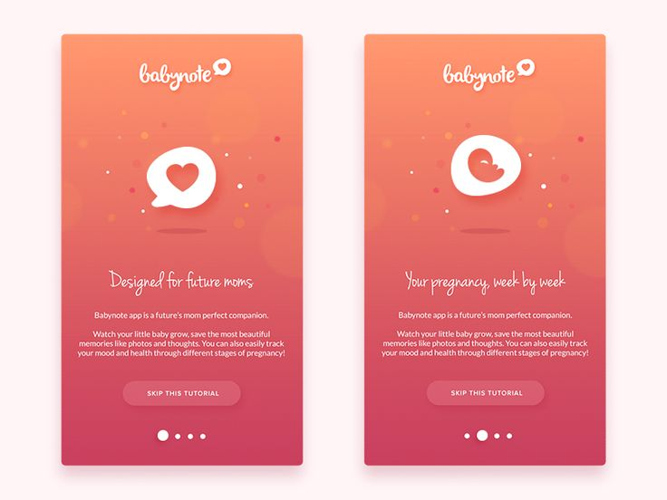 Babynote App - animated onboarding