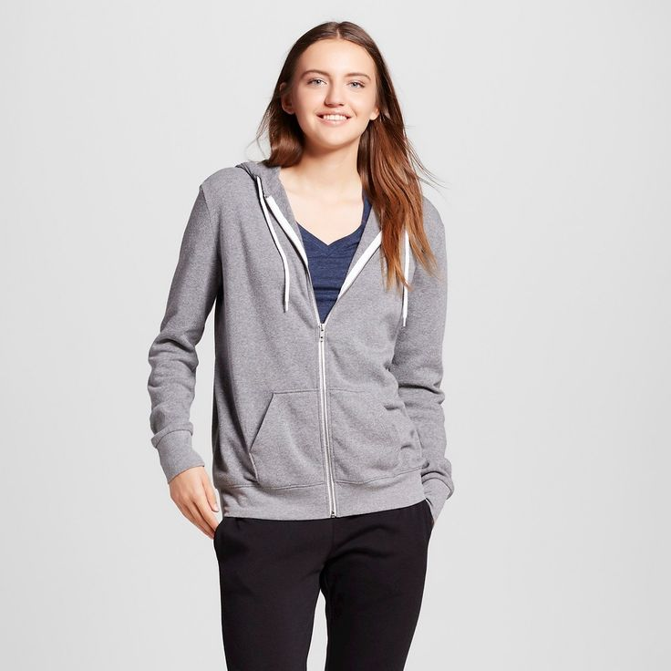 Women's Zip Up Sweatshirt Heather Gray Xxl - Mossimo Supply Co.