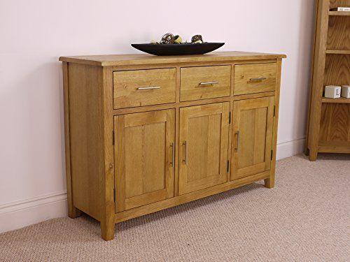 Nebraska Oak - Large Sideboard / 3 Door 3 Drawer Storage Dresser Cupboard Cabinet Unit: Amazon.co.uk: Kitchen & Home