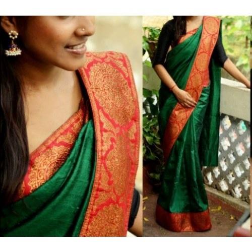Designer Raw Silk Sari with Banarsi Border