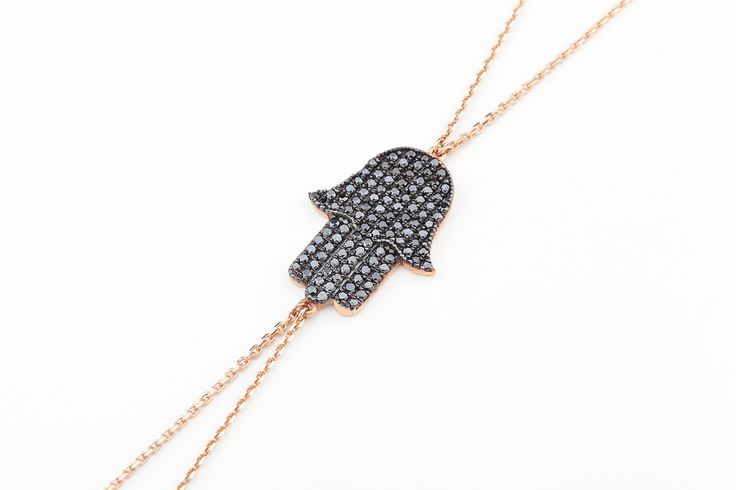 HAMSA HAND Black Diamond Shamaran in 14K Gold
