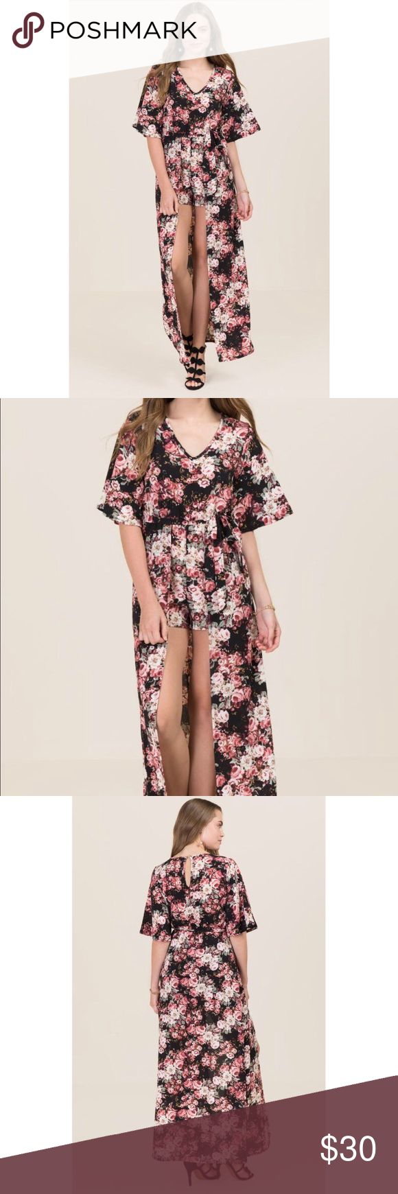 """gorgeous floral maxi romper Purchased from Francesca's August 2017, style name is Rowen. $44. Size small, measurements are included from the website. I wore it once on vacation (pictured blonde w/ wine & horses) and since I had some photos taken in it am selling it. gently washed and flat dried. This is a maxi dress with built in shorts, so like a romper w/ a maxi skirt. It has an tie for the waist. SUPER cute & versatile. 57"""" length from shoulder to hem • 34"""" bust • 28"""" waist • 5'9"""" model…"""