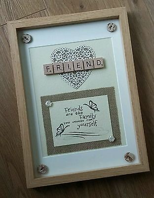 SCRABBLE FRAME Rustic Personalised Friend Friendship Thank you Picture GIFT