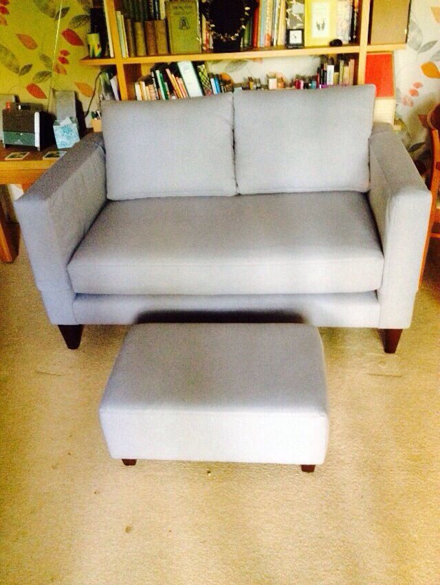 From our UK bespoke sofa collection. This small retro sofa with footstool  was created exactly