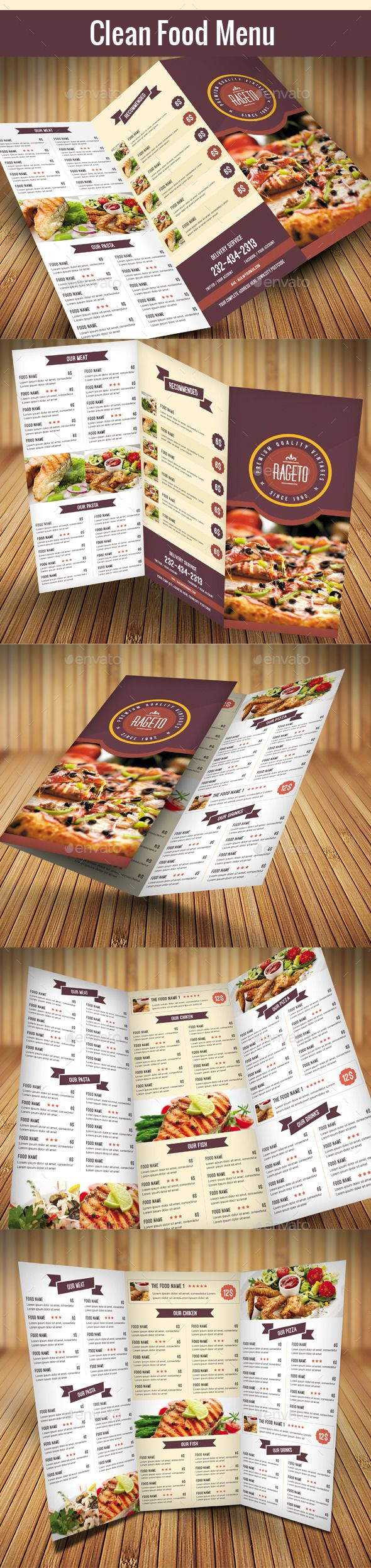 Clean Food Menu 2 — Photoshop PSD #cool #menu design • Available here → https://graphicriver.net/item/clean-food-menu-2/12757118?ref=pxcr
