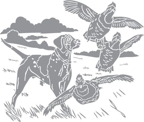 glass etching templates for free - glass etching stencil of pointing quail in category
