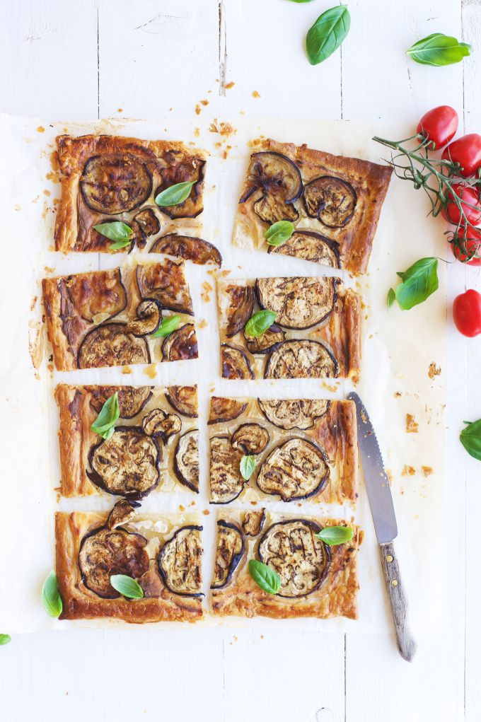 Ricotta eggplant savory tart. Réally special and so easy to make! The perfect snack, appetizer or lunch!