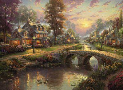 Sunset on Lamplight Lane - Thomas Kinkade