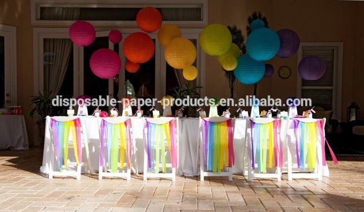 regenboog streamer stoel slingers partij decor partij ideëen dessert tafels…
