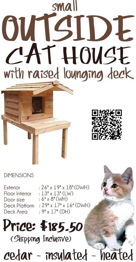 Cat Outside House Sale - The Small Outside Cat House with Raised Lounging Deck is designed to protect your cats from all ground chill in wet conditions with the lounging deck as a great place for kitty to have little cat naps. The protruding porch roof shields the front of the house and the doorway from dripping rain and melting snow. It is spacious enough to house 1 adult cat,- PRICE: $185.50 - #outsidecathouse #outdoorcathouse #catoutsidehouse http://www.catbedandtoy.com/outdoorcathouse