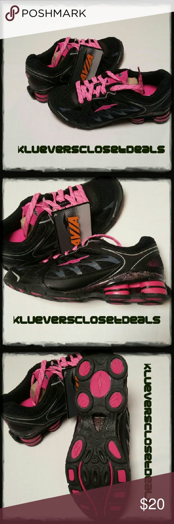 AVILA-FLURRY ATHLETIC RUNNING SHOES SZ 6.5 BRAND NEW. BLK/PINK. LEATHER/MESH Avia Shoes Athletic Shoes