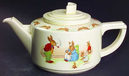 Royal Doulton Bunnykins children's nursery teapot in Casino shape ... decoration of anthropomorphized rabbit family, c.1950, geometric shape debuted very early 1930s, earthenware, UK