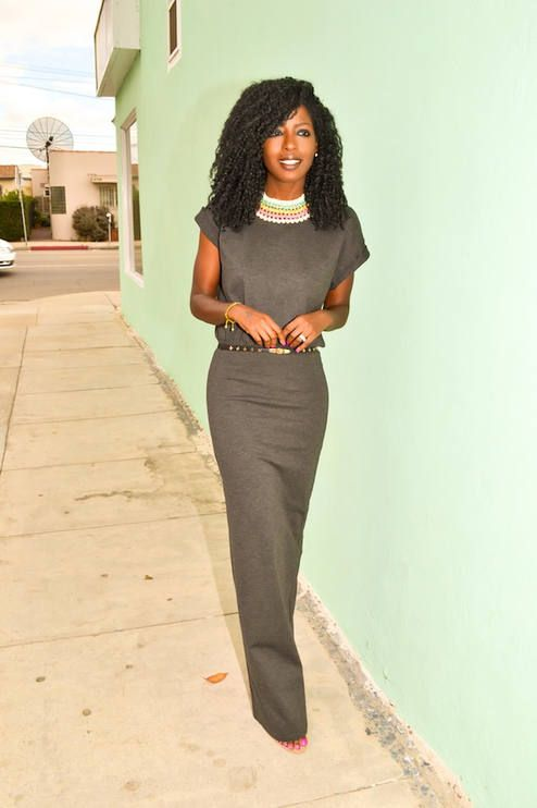 #Gray T-shirt maxi dress