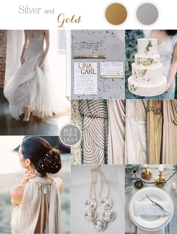 Minimalist Metallic Wedding Inspiration with Rustic Silver and Gold Leaf Details | See More! http://heyweddinglady.com/chic-metallic-wedding-with-silver-and-gold-leaf-accents/