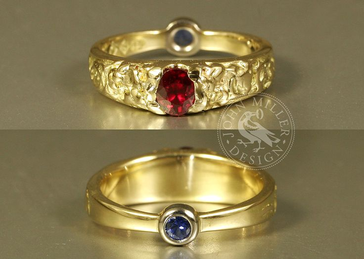 Secret Sapphire, a unique ring featuring a stunning Ruby with a secret sapphire set on the back of the 18ct yellow gold band. Handcrafted original by John Miller design in Yallingup