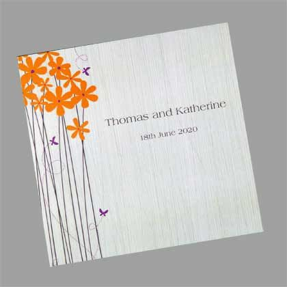 These blossoms and butterflies square folding Wedding invitations are great for an outdoor wedding. www.kardella.com