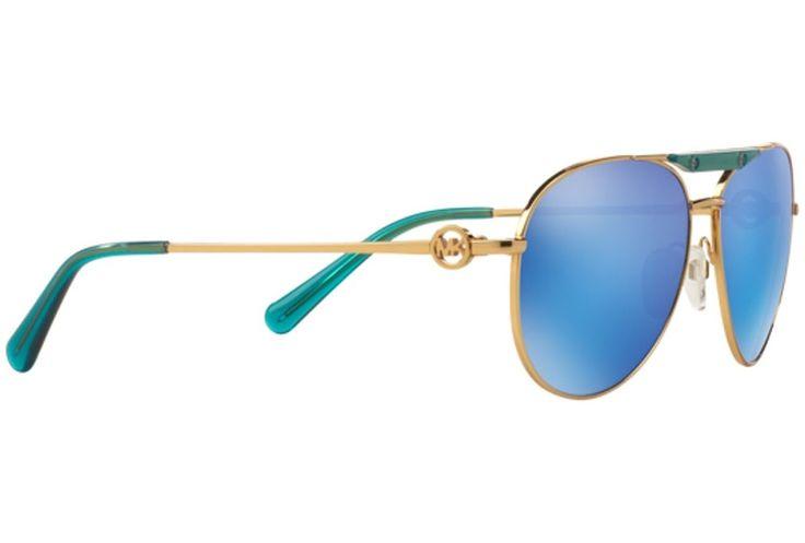 Michael Kors ZANZIBAR MK5001 Sunglasses 109725-58 - Gold/ Turquoise Frame, Teal Mirror