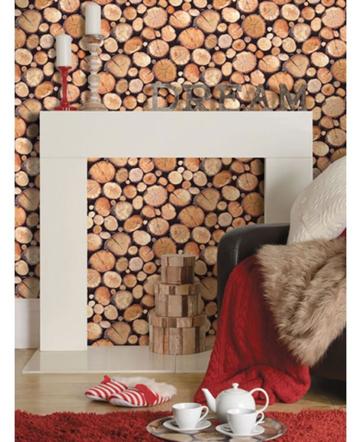 This striking wallpaper features a stacked logs design in natural tones of brown and black. The design is printed on to luxury heavyweight paper to ensure durability and a quality finish