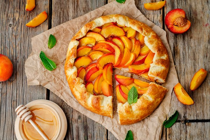 This peach and almond galette from Daphne is easier than pie because the folded crust is less labor-intensive when compared to a traditional crust.