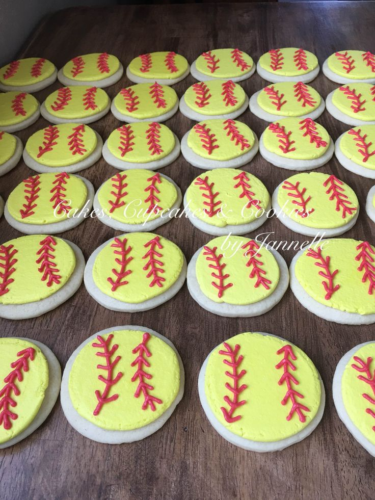 Softball Cookies for a season ending party! Soft sugar cookies with neon yellow buttercream and red stitch accent