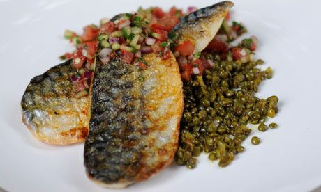 Grilled mackerel with spiced lentils and kachumber