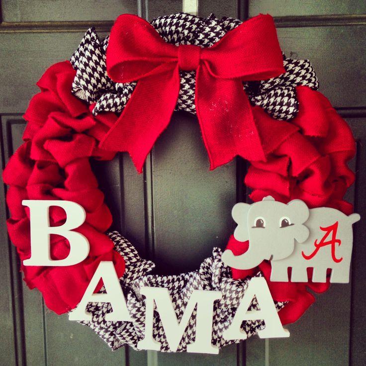 Alabama burlap wreath. Roll tide.