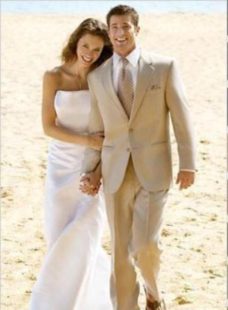 SKU#Eric_2P Amazing Linen Feel Cotton/Spandex Tan 2 Button Wedding Suit $149 Mens Discount Suits By Style and Quality 2 Button Suits