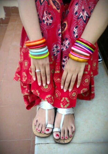 Desi style. Bangles, kollapuries and indian skirt