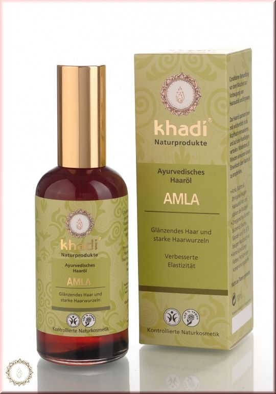 khadi Herbal Hair Oil Amla - Khadi Amla Oil enriches hair growth and pigmentation. It prevents premature graying of hair, dandruff, increases the strength of hair follicles and is preventing hair-fall. Khadi Amla hair oil gives a natural shine and soft texture to the hair. It also helps to rejuvenate hair that is dull and damaged. It also prevents split hair ends.   Directions: Part your hair and apply oil all over the scalp. Massage the scalp gently with fingers in a circular motion.