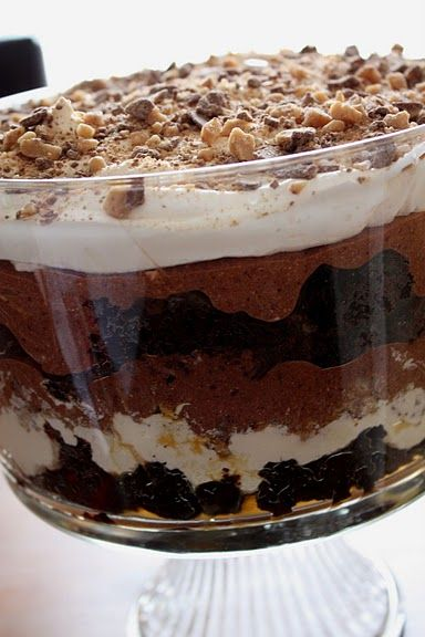 Chocolate Brownie Triffle -You must try this! It is so easy and so good. Make sure you have a crowd to feed. It's dangerous! It is easy to have all the ingredients on hand for yummy dessert that comes together quickly.