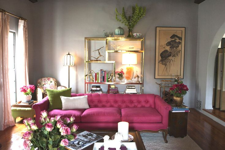 Fantastic pink linen couch in a beautiful Emily Henderson-designed room.