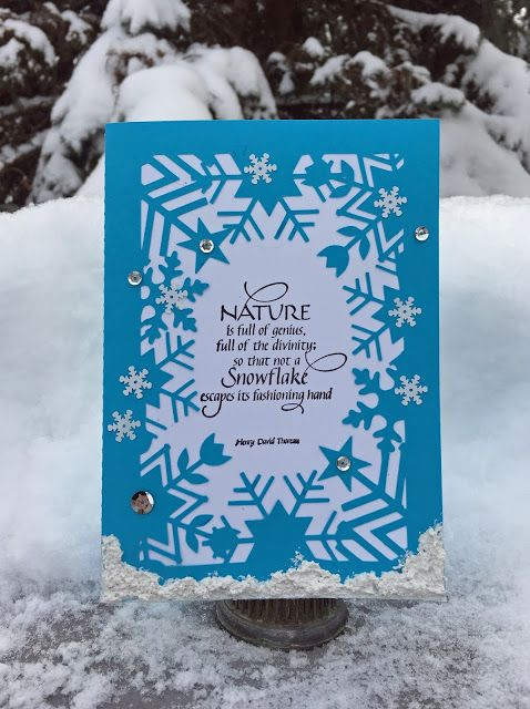 Snowflake Frame Card with Nature is Full of Genius quote stamp