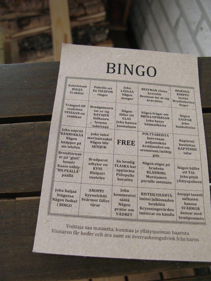 Wedding bingo - hääbingo - bröllopsbingo