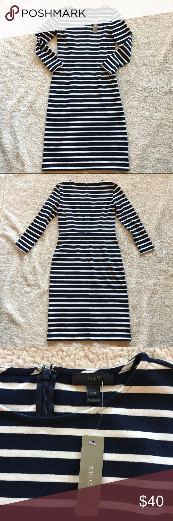 NWT J. Crew Striped Midi Dress, 00P NWT J. Crew Striped Midi Dress in navy and off white with long sleeves and back zipper. Brand new with tag from a smoke-free, pet-free home. No trades. Size: 00 petite J. Crew Dresses Midi