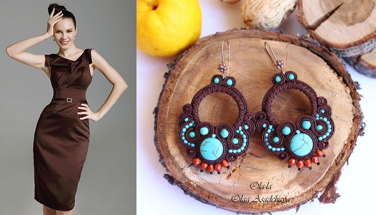 """Earrings """"Turquoise and Chocolate"""" Sutazhnaya embroidery, turquoise, govlity, Japanese seed beads, metal elements, glass beads"""