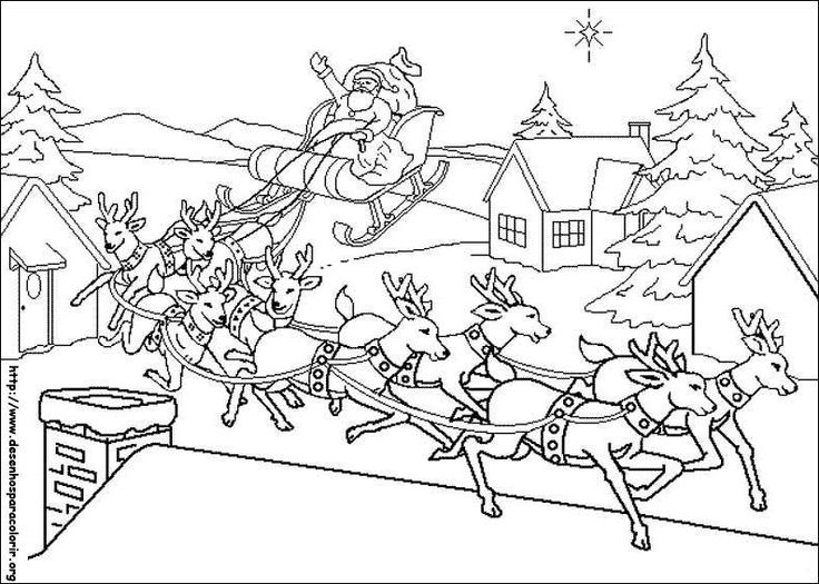 coloring sata claus with his sled lands on a roof picture print this drawing for your kids