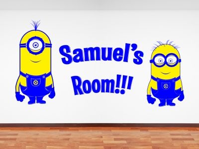 Mionions from Pixars Displicable Me, customised with name.  All our wall stickers/decals are available in a great range of sizes and colours - and can be personalised to be truly custom.