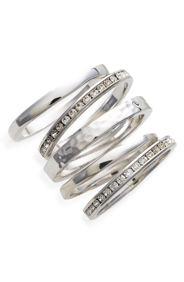 Ariella Collection Slim Stackable Rings (Set of 5) by dee