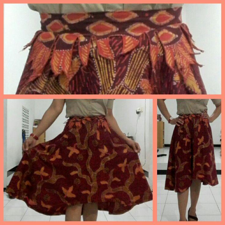 Brown circle batik skirt - self made