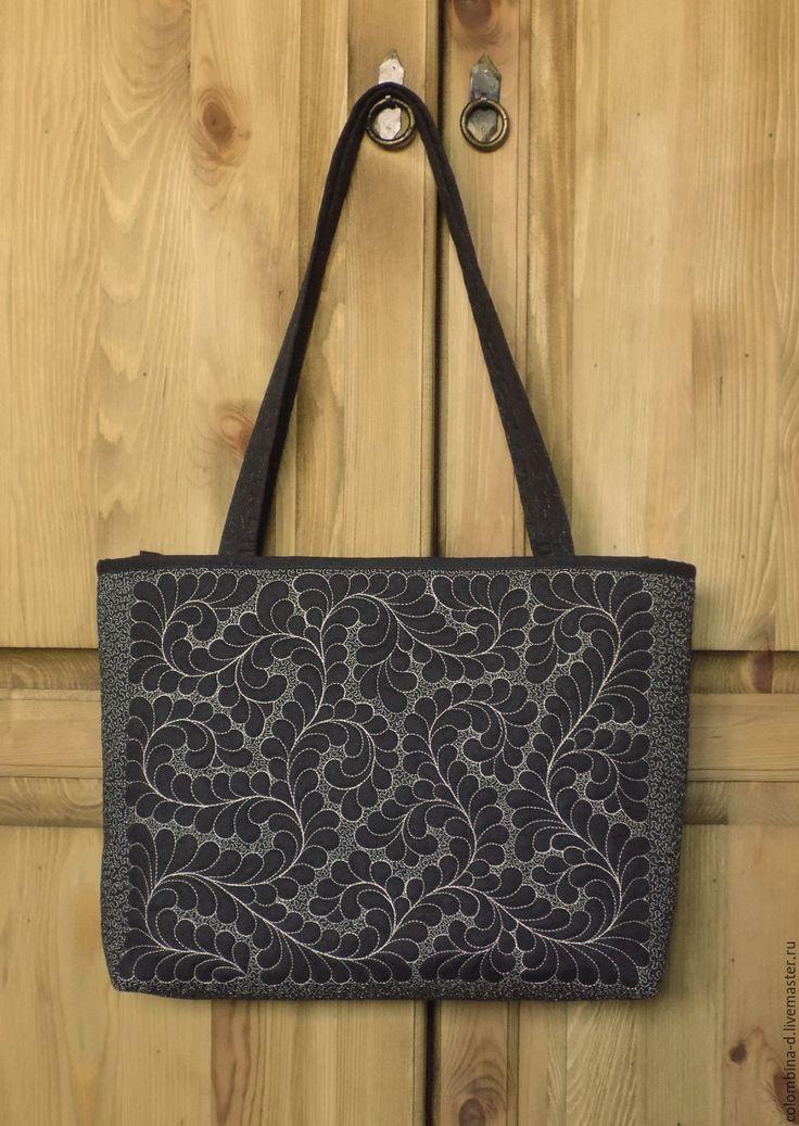 """Купить Сумка """"Узоры на камне - Гранит"""" - сумка, сумка ручной работы, стежка, темно-серый"""