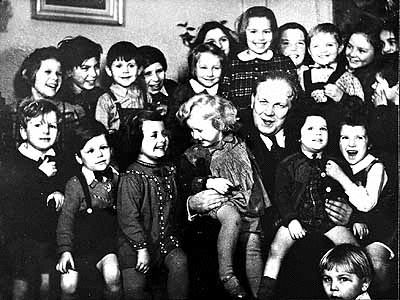 """""""This group portrait of Danish-Jewish children was taken in a children's home in Sweden after their escape from Denmark. The rescue of Danish Jewry was one of the few positive stories in the tragic annals of the Holocaust. These Jewish children unknowingly defied all odds by surviving the genocidal intentions of the Nazis."""""""