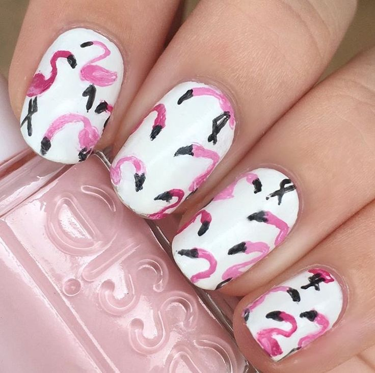 Flamingo nails🌸 #flamingo #nails #nailart #naildesign