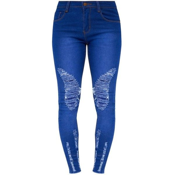 Petite Blue Bright Blue Distressed Skinny Jeans ($40) ❤ liked on Polyvore featuring jeans, blue ripped jeans, bright blue jeans, ripped jeans, torn jeans and skinny jeans