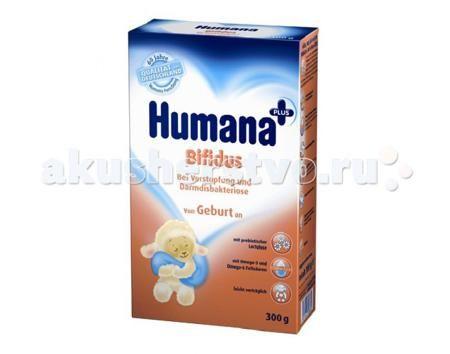 Humana Заменитель Bifidus с рождения с лактулозой 300 г  — 690р.   Специализированная адаптированная молочная смесь Bifidus для профилактики и лечения функциональных запоров и дисбиоза кишечника у детей, находящихся на смешанном и искусственном вскармливании.  Особенности: • содержит пребиотик лактулозу (0,9г/100мл готовой смеси) с послабляющими и бифидогенными свойствами • увеличивает частоту и улучшает консистенцию стула у детей со склонностью к запорам • способствует росту собственных…