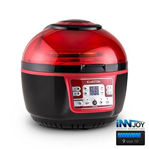 Klarstein VitAir Turbo Hot Air Deep Fryer No Oil No Fat Fryer 1400 W Grilling Baking 9 Litres black/red